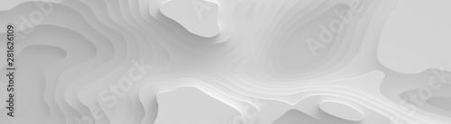 Fototapeta premium Szeroka panorama 3D krajobrazowy styl cięcia papieru, zakrzywione kształty z gradientami, abstrakcyjne geometryczne linie wzór tła ilustracji do projektowania okładek, książek, plakatów, okładek płyt CD, ulotek, reklam.
