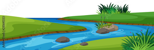 Landscape background with river in park