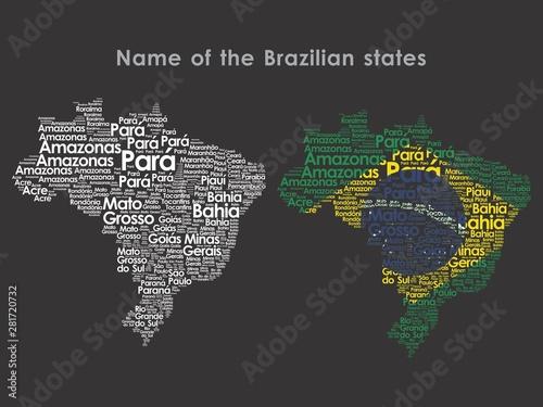 Canvas Print Name of the Brazilian states