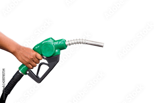 Hand holding gas nozzle with one last drop Fototapet