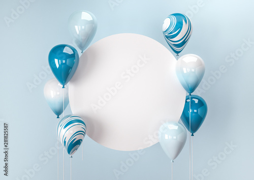 Photo Set of colorful balloons with empty space for text