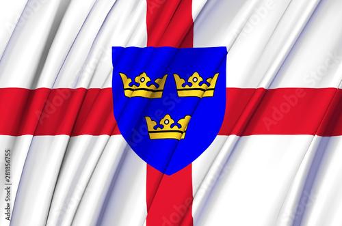 East Anglia waving flag illustration. Fototapeta