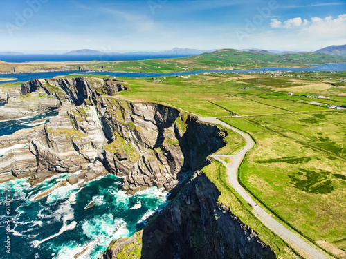 Amazing wave lashed Kerry Cliffs, the most spectacular cliffs in County Kerry, Ireland Fototapeta