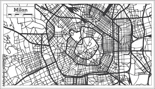 Canvas Print Milan Italy City Map in Retro Style in Black and White Color
