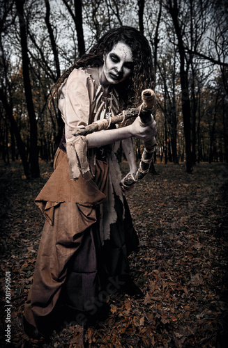 Obraz na plátne Halloween theme: wicked creepy voodoo witch attacking by stick
