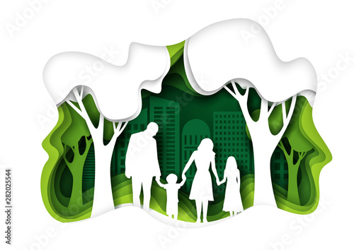 Leinwand Poster Family walking in eco green city park, vector paper cut illustration