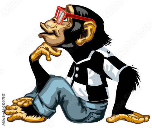 Obraz na plátne Cartoon intelligent Chimpanzee wearing a red glasses Smart great ape or chimp monkey sitting in thinker pose and looking up