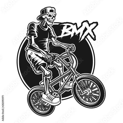 Obraz na plátně Shirt design of a skeleton is jumping on bmx bike.