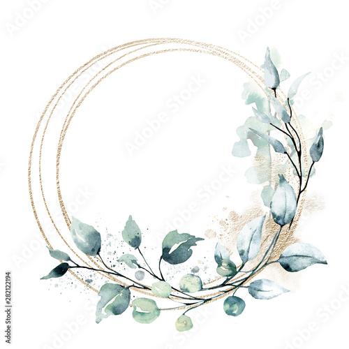 Fotografia, Obraz Leaves gold frame wreath border