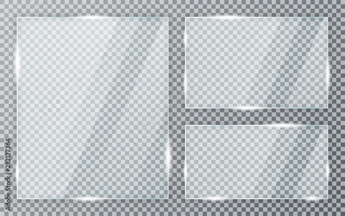 Glass plates set on transparent background. Acrylic and glass texture with glares and light. Realistic transparent glass window in rectangle frame