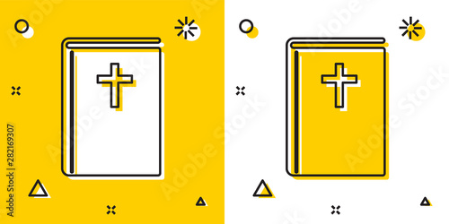 Fotografia Black Holy bible book icon isolated on yellow and white background
