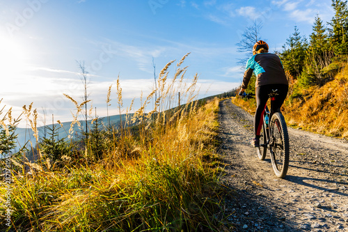 Mountain biking woman riding on bike in summer mountains forest landscape. Woman cycling MTB flow trail track. Outdoor sport activity.