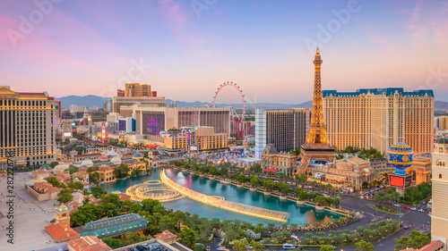 Canvas Print cityscape of Las Vegas from top view in Nevada, USA