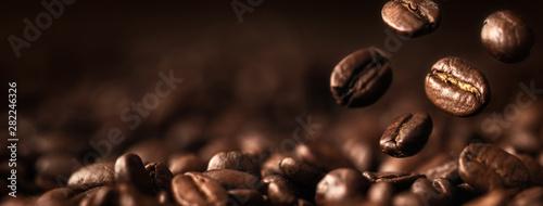 Coffee Beans Closeup On Dark Background