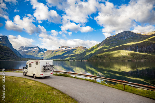 Family vacation travel RV, holiday trip in motorhome Fototapet