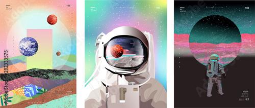 Billede på lærred Vector illustration of space, cosmonaut and galaxy for poster, banner or background