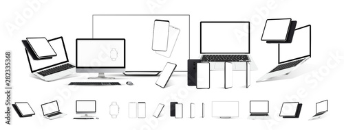 Wall mural Mockups gadgets vector set. 3D realistic models technology device and electronics (tablet, tv, laptop,mobile cell phone, smartphones, pc monitor) Gadgets from different angles, perspective, isometric
