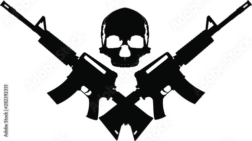 Obraz na plátně human skull and two crossed automatic assault rifles on a white background