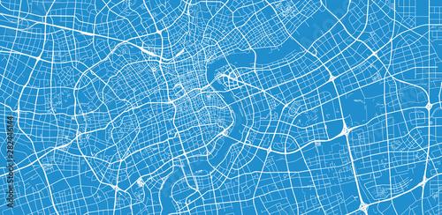 Obraz na plátně Urban vector city map of Shanghai, China