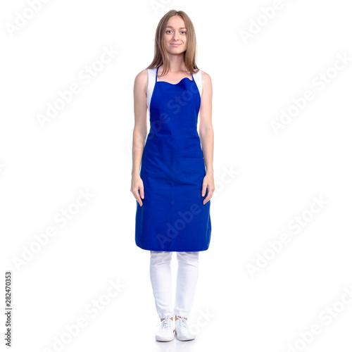 Obraz na płótnie Woman in blue apron smile on white background isolation