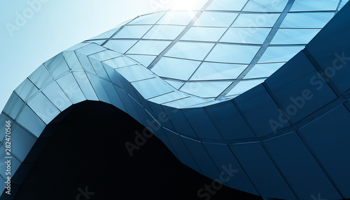 Canvas Print Modern architecture business building abstract curve line details steel facade background