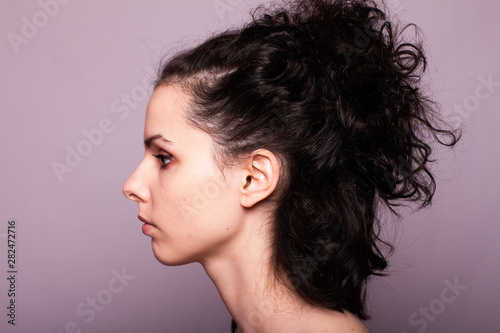 beautiful young curly girl portrait