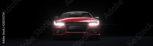 Front view of red sports car with lights on.