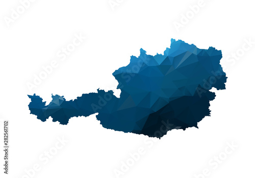 Photo Vector Map - Blue Geometric Rumpled Triangular