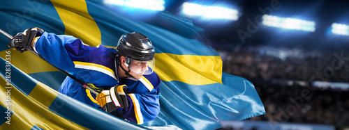 Photo Sweden Hockey Player in action around national flags