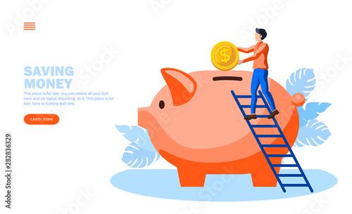 Canvas Print man saving money in piggy bank