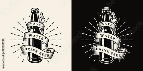 Leinwand Poster Vintage brewing monochrome emblem