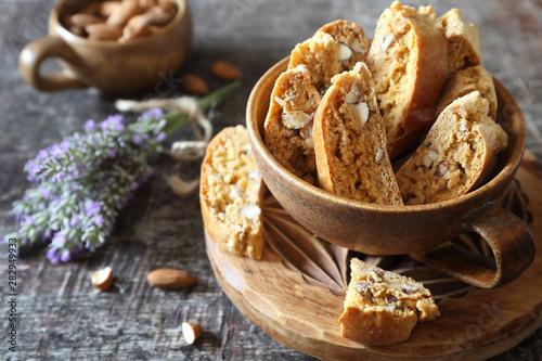 Slika na platnu Italian cookies: almond and lavender cantuccini