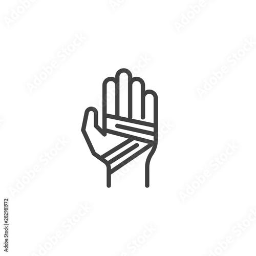 Leinwand Poster Bandaged hand line icon