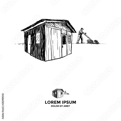 Tablou Canvas Shed and an old man mow the lawn
