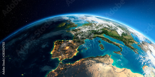 Wallpaper Mural Detailed Earth. Spain and the Mediterranean Sea