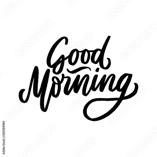 Stampa su Tela Hand drawn lettering phrase good morning for print, photo overlay, decor