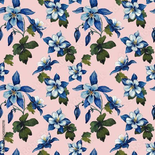 Stampa su Tela watercolor aquilegia seamless pattern on pink background