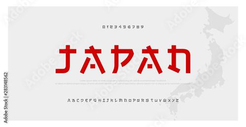 Japanese modern style alphabet font typeface Fototapeta