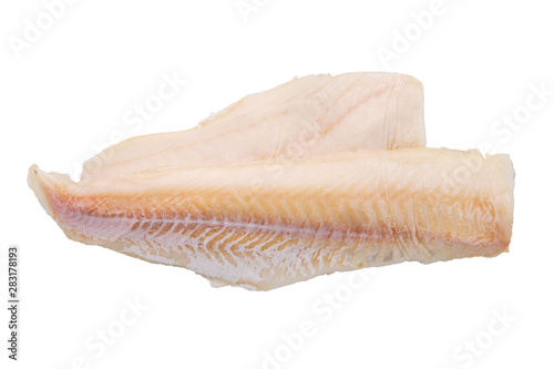 Tablou Canvas Top view of cod fillet isolated on white