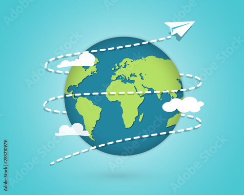 Paper Plane flying around the globe. Around the world travelling by plane, airplane trip in various country. Planet Earth. Travel and tourism concept #283210979