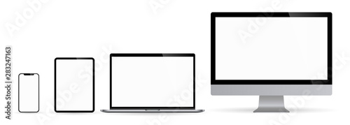 Wall mural Realistic set of computer monitors desktop laptop tablet and phone illustration vector illustrator Ai EPS