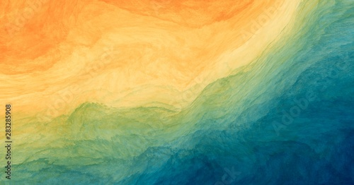 Abstract colorful watercolor paint blue green yellow background with liquid fluid texture for background, banner