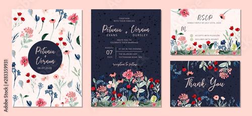 Photo wedding invitation suite with wild floral garden watercolor