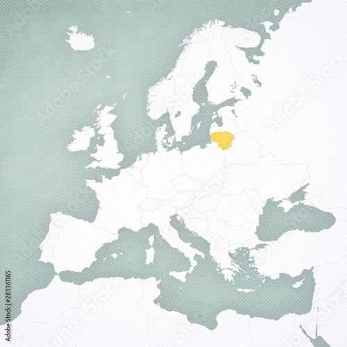 Fotografia Map of Europe - Lithuania