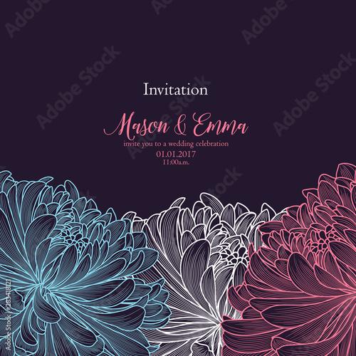 Obraz na płótnie Abstract  hand drawn floral pattern with chrysanthemum flowers