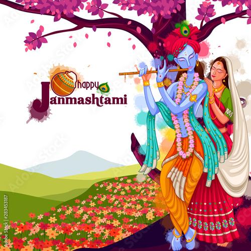 vector illustration of God Krishna playing flute with Radha on Happy Janmashtami Fototapeta