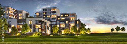 Fotografia, Obraz Scenic night view of modern architecture of residential buildings