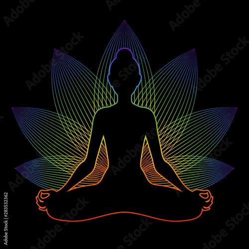 Obraz na płótnie Meditating woman with rainbow aura in lotus pose
