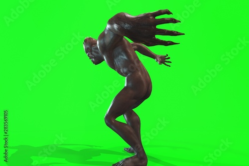 Photo Fantasy character asym Monster 3d render on green background