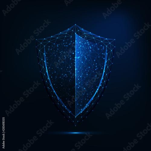 Obraz na plátně Futuristic glowing low polygonal guard shield symbol isolated on dark blue background